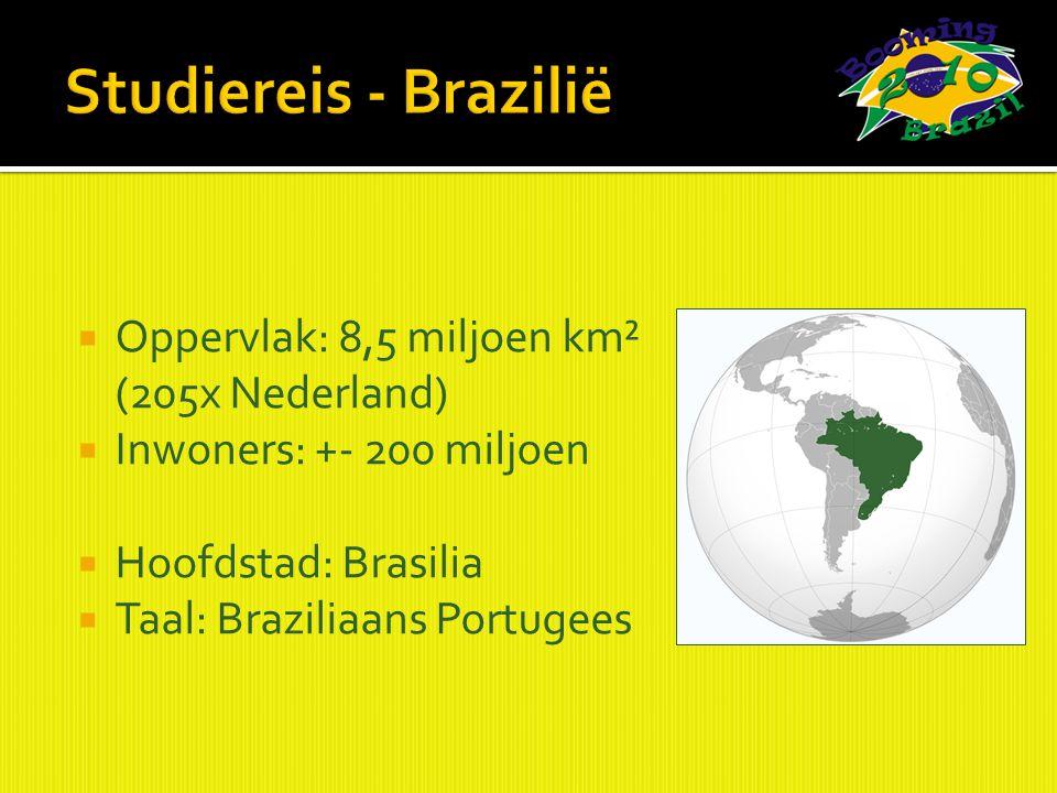  Oppervlak: 8,5 miljoen km² (205x Nederland)  Inwoners: +- 200 miljoen  Hoofdstad: Brasilia  Taal: Braziliaans Portugees
