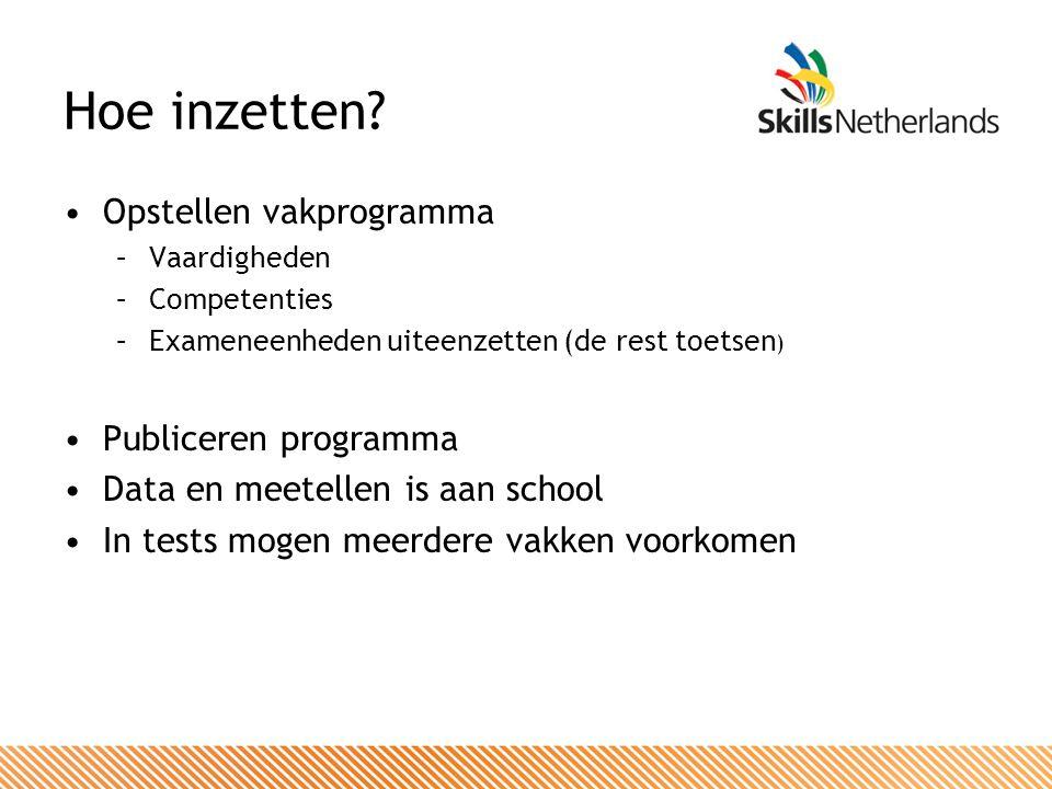 Hoe inzetten? Opstellen vakprogramma –Vaardigheden –Competenties –Exameneenheden uiteenzetten (de rest toetsen ) Publiceren programma Data en meetelle