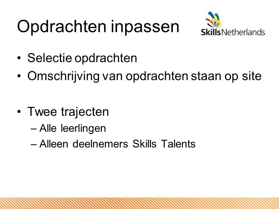 Opdrachten inpassen Selectie opdrachten Omschrijving van opdrachten staan op site Twee trajecten –Alle leerlingen –Alleen deelnemers Skills Talents