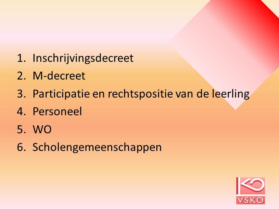 1.Inschrijvingsdecreet 2.M-decreet 3.Participatie en rechtspositie van de leerling 4.Personeel 5.WO 6.Scholengemeenschappen