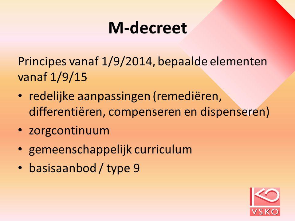 M-decreet Principes vanaf 1/9/2014, bepaalde elementen vanaf 1/9/15 redelijke aanpassingen (remediëren, differentiëren, compenseren en dispenseren) zo