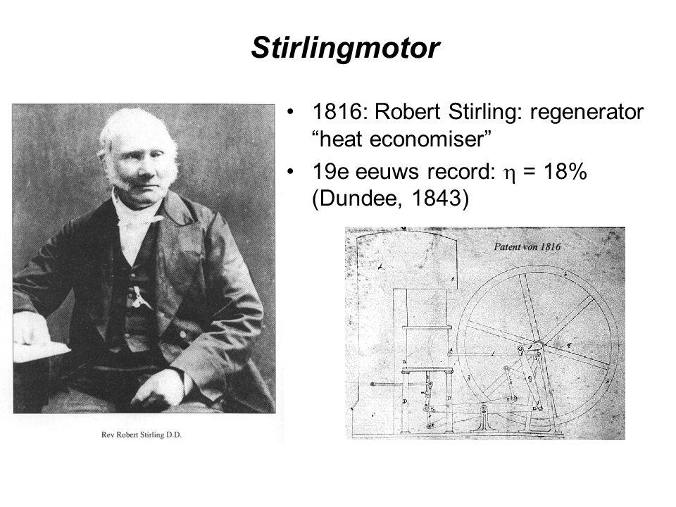 "Stirlingmotor 1816: Robert Stirling: regenerator ""heat economiser"" 19e eeuws record:  = 18% (Dundee, 1843)"