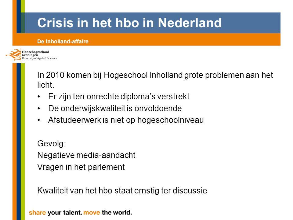 Crisis in het hbo in Nederland Ook een alternatief afstudeertraject bij een opleiding van de Hanzehogeschool is in beeld.