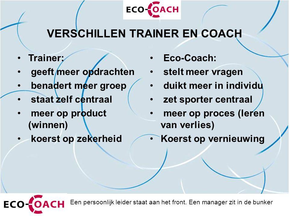 VERSCHILLEN TRAINER EN COACH Trainer: geeft meer opdrachten benadert meer groep staat zelf centraal meer op product (winnen) koerst op zekerheid Eco-C