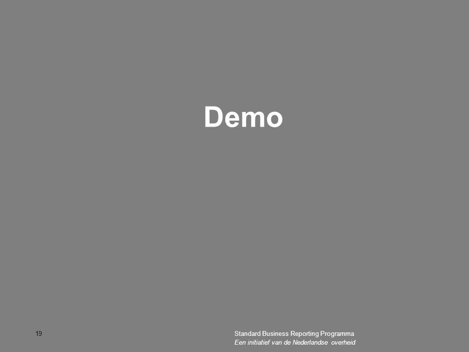 Demo 19Standard Business Reporting Programma Een initiatief van de Nederlandse overheid