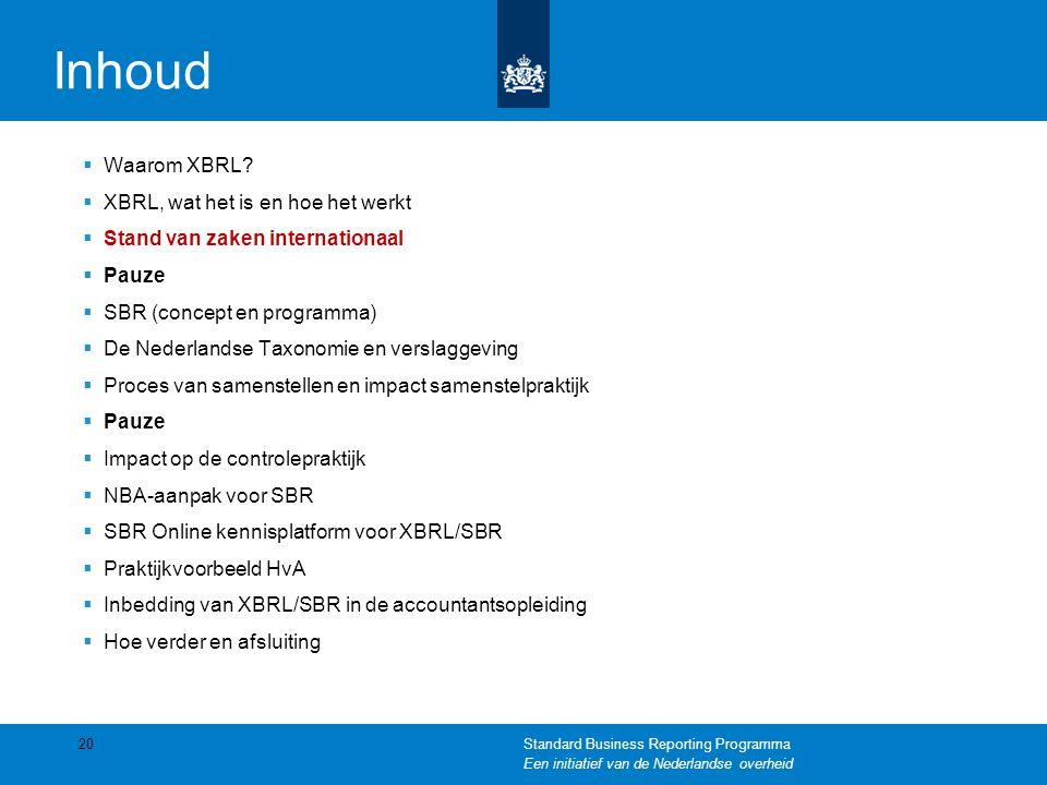 Inhoud  Waarom XBRL?  XBRL, wat het is en hoe het werkt  Stand van zaken internationaal  Pauze  SBR (concept en programma)  De Nederlandse Taxon