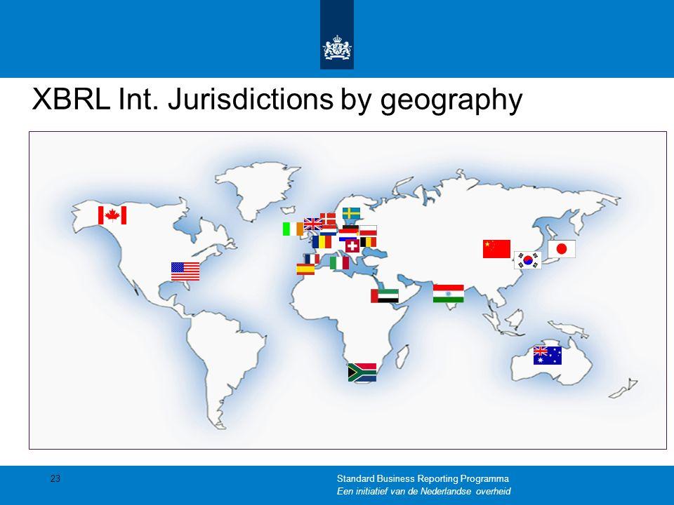 XBRL Int. Jurisdictions by geography 23Standard Business Reporting Programma Een initiatief van de Nederlandse overheid