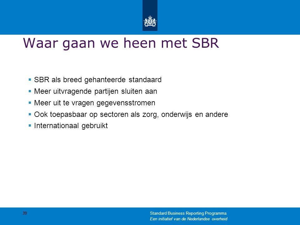 Waar gaan we heen met SBR  SBR als breed gehanteerde standaard  Meer uitvragende partijen sluiten aan  Meer uit te vragen gegevensstromen  Ook toe