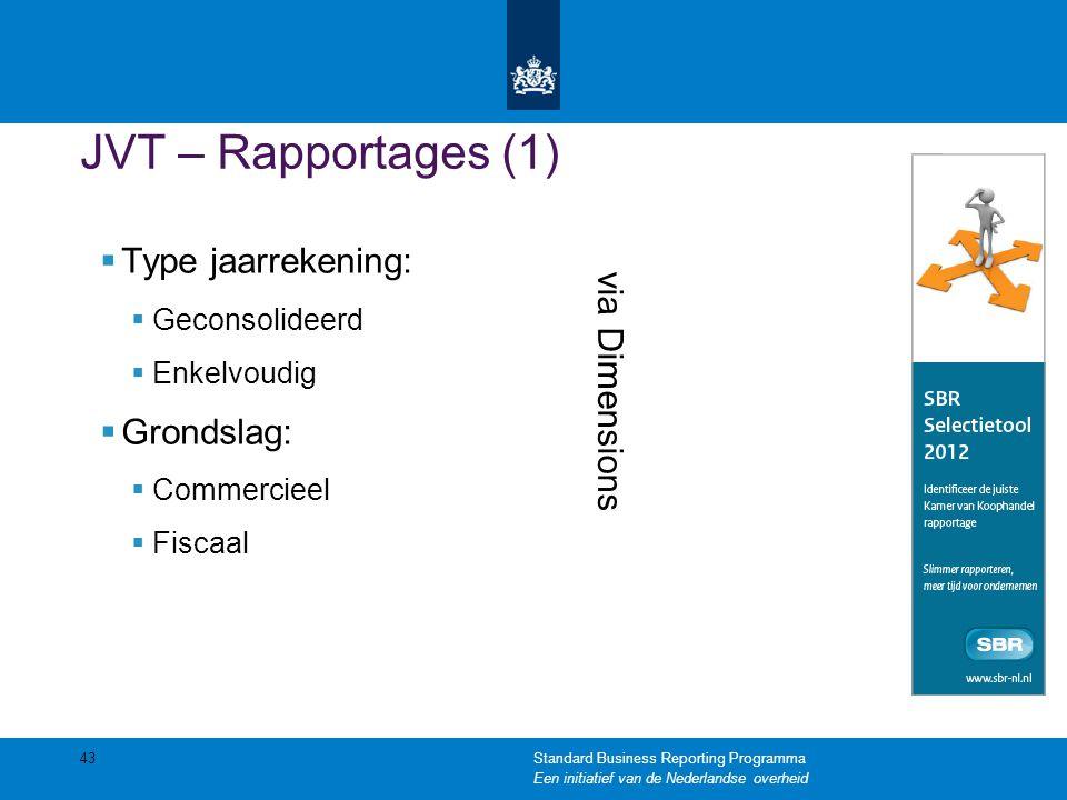 JVT – Rapportages (1)  Type jaarrekening:  Geconsolideerd  Enkelvoudig  Grondslag:  Commercieel  Fiscaal 43 via Dimensions Standard Business Rep