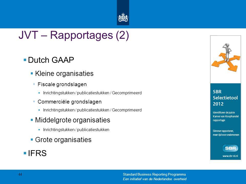 JVT – Rapportages (2)  Dutch GAAP  Kleine organisaties  Fiscale grondslagen  Inrichtingstukken / publicatiestukken / Gecomprimeerd  Commerciële g