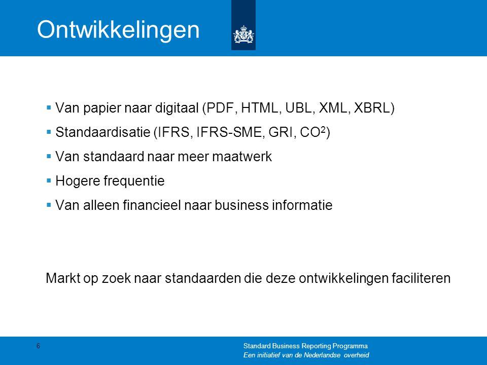  Van papier naar digitaal (PDF, HTML, UBL, XML, XBRL)  Standaardisatie (IFRS, IFRS-SME, GRI, CO 2 )  Van standaard naar meer maatwerk  Hogere freq