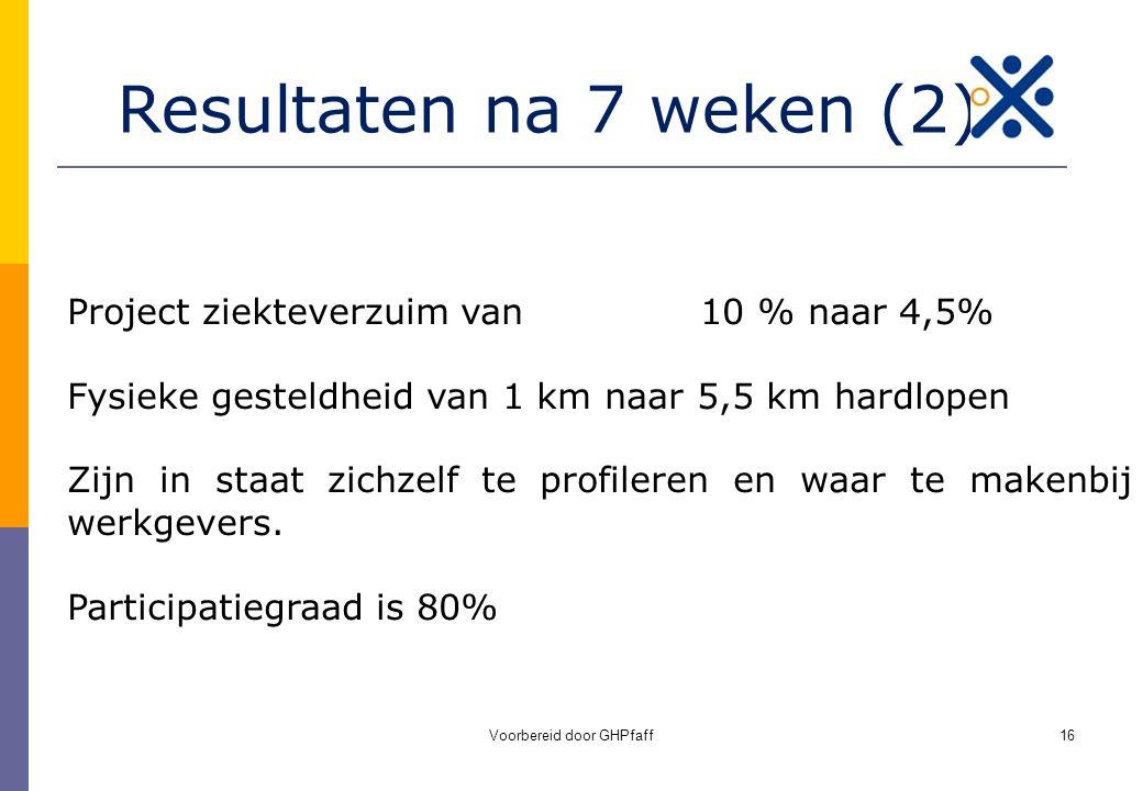Voorbereid door GHPfaff16 Resultaten na 7 weken (2) Project ziekteverzuim van 10 % naar 4,5% Fysieke gesteldheid van 1 km naar 5,5 km hardlopen Zijn i