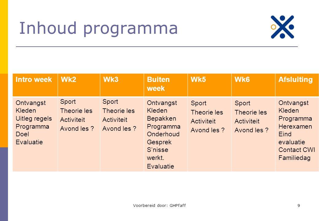Inhoud programma Intro weekWk2Wk3Buiten week Wk5Wk6Afsluiting Ontvangst Kleden Uitleg regels Programma Doel Evaluatie Sport Theorie les Activiteit Avo