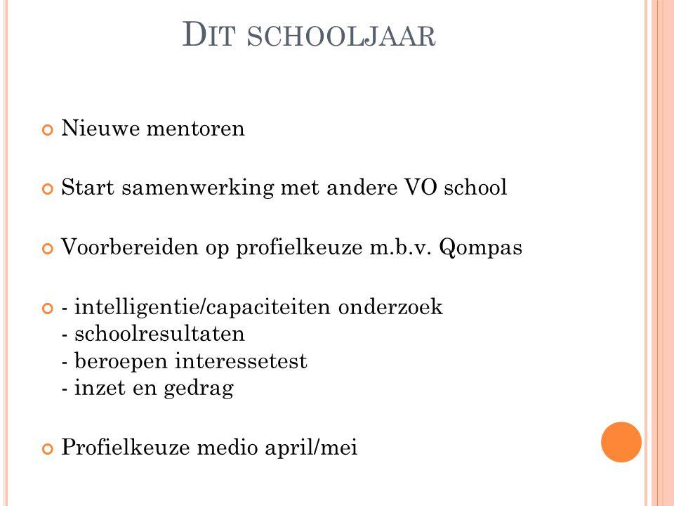 D IT SCHOOLJAAR Nieuwe mentoren Start samenwerking met andere VO school Voorbereiden op profielkeuze m.b.v. Qompas - intelligentie/capaciteiten onderz