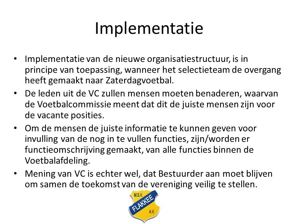 Implementatie Implementatie van de nieuwe organisatiestructuur, is in principe van toepassing, wanneer het selectieteam de overgang heeft gemaakt naar Zaterdagvoetbal.