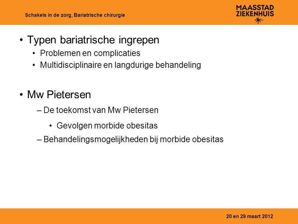 Typen bariatrische ingrepen Problemen en complicaties Multidisciplinaire en langdurige behandeling Mw Pietersen –De toekomst van Mw Pietersen Gevolgen