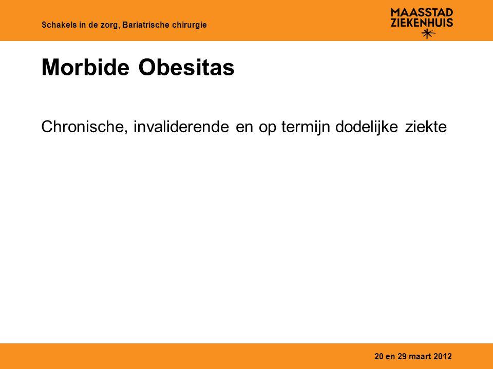 Morbide Obesitas Chronische, invaliderende en op termijn dodelijke ziekte 20 en 29 maart 2012 Schakels in de zorg, Bariatrische chirurgie