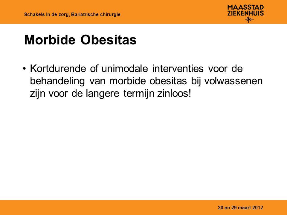 Morbide Obesitas Kortdurende of unimodale interventies voor de behandeling van morbide obesitas bij volwassenen zijn voor de langere termijn zinloos!