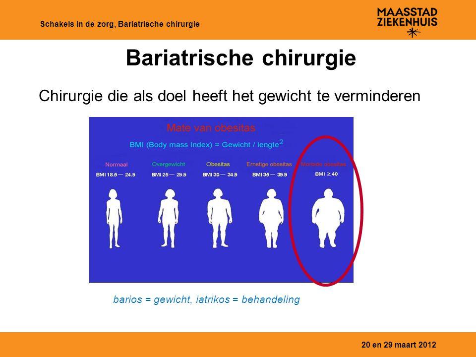 20 en 29 maart 2012 Schakels in de zorg, Bariatrische chirurgie Bariatrische chirurgie RY Gastric Bypass Sleeve Gastrectomy Maagband BPD