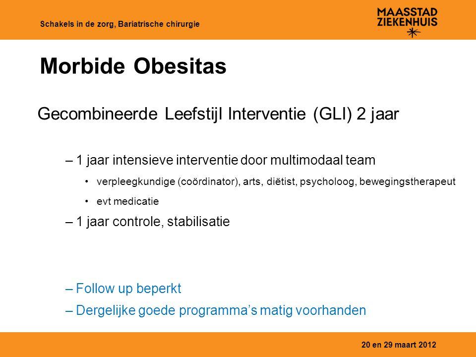 Morbide Obesitas Gecombineerde Leefstijl Interventie (GLI) 2 jaar –1 jaar intensieve interventie door multimodaal team verpleegkundige (coördinator),