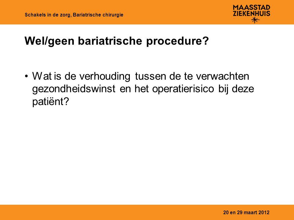 Wel/geen bariatrische procedure? Wat is de verhouding tussen de te verwachten gezondheidswinst en het operatierisico bij deze patiënt? 20 en 29 maart