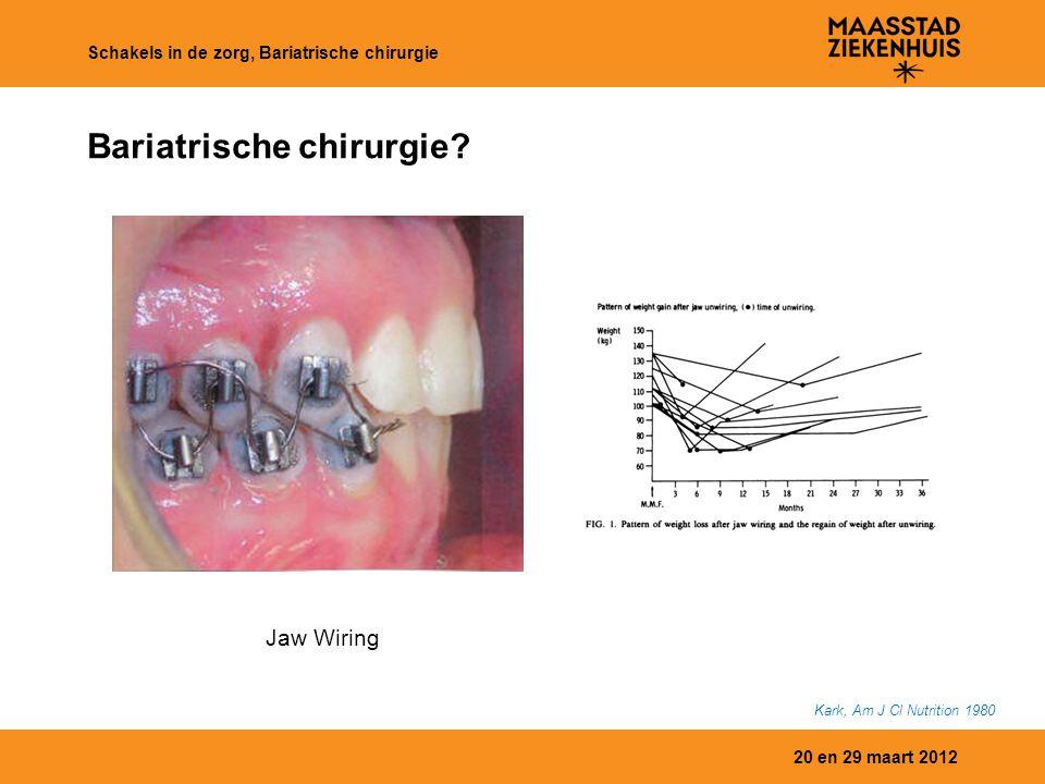 20 en 29 maart 2012 Schakels in de zorg, Bariatrische chirurgie Bariatrische chirurgie? Kark, Am J Cl Nutrition 1980 Jaw Wiring