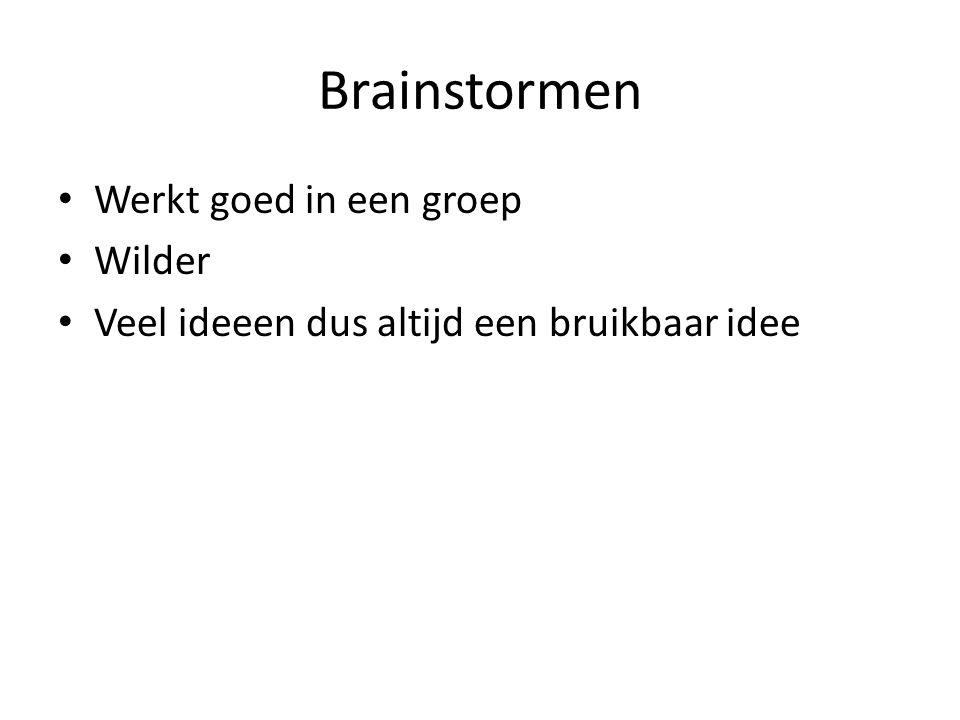 Brainstormen Werkt goed in een groep Wilder Veel ideeen dus altijd een bruikbaar idee