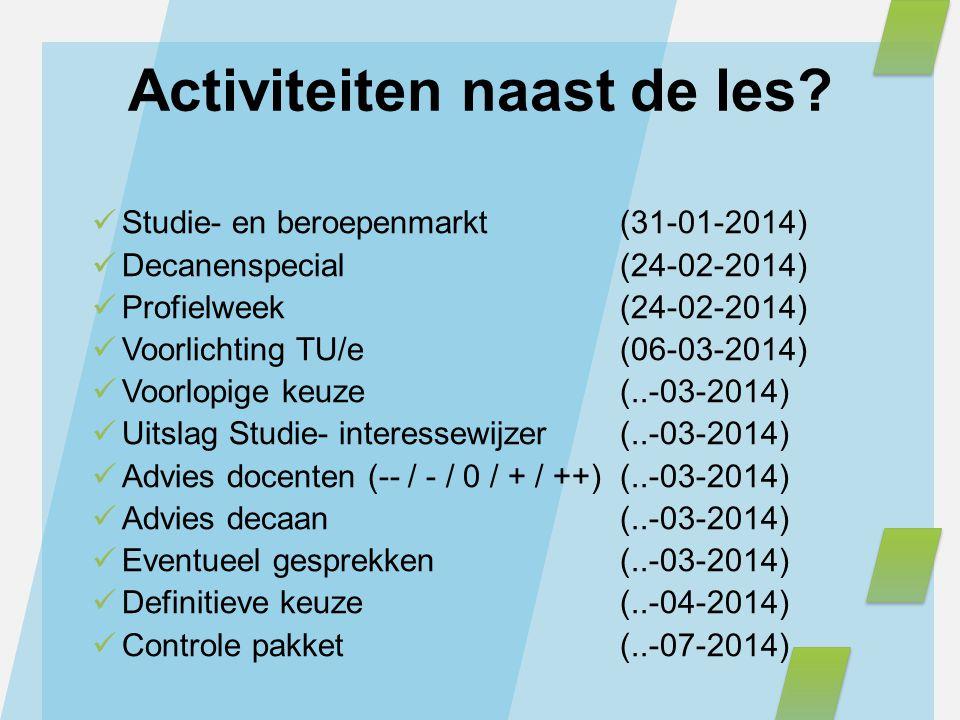 Activiteiten naast de les? Studie- en beroepenmarkt (31-01-2014) Decanenspecial (24-02-2014) Profielweek (24-02-2014) Voorlichting TU/e(06-03-2014) Vo