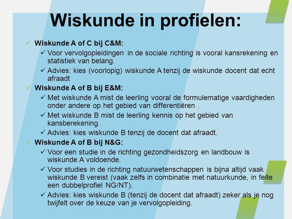 Wiskunde A of C bij C&M: Voor vervolgopleidingen in de sociale richting is vooral kansrekening en statistiek van belang. Advies: kies (voorlopig) wisk