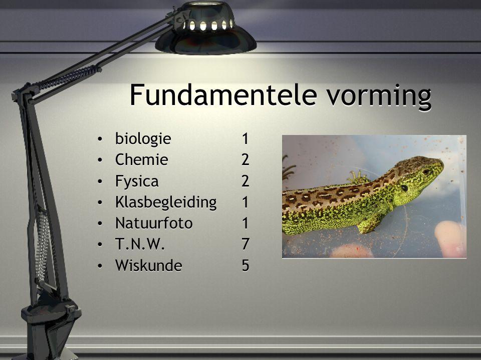 Fundamentele vorming biologie1 Chemie2 Fysica2 Klasbegleiding1 Natuurfoto1 T.N.W.7 Wiskunde5 biologie1 Chemie2 Fysica2 Klasbegleiding1 Natuurfoto1 T.N.W.7 Wiskunde5