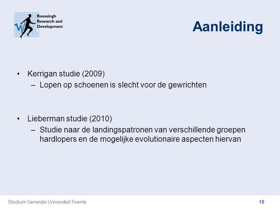Studium Generale Universiteit Twente Aanleiding Kerrigan studie (2009) –Lopen op schoenen is slecht voor de gewrichten Lieberman studie (2010) –Studie