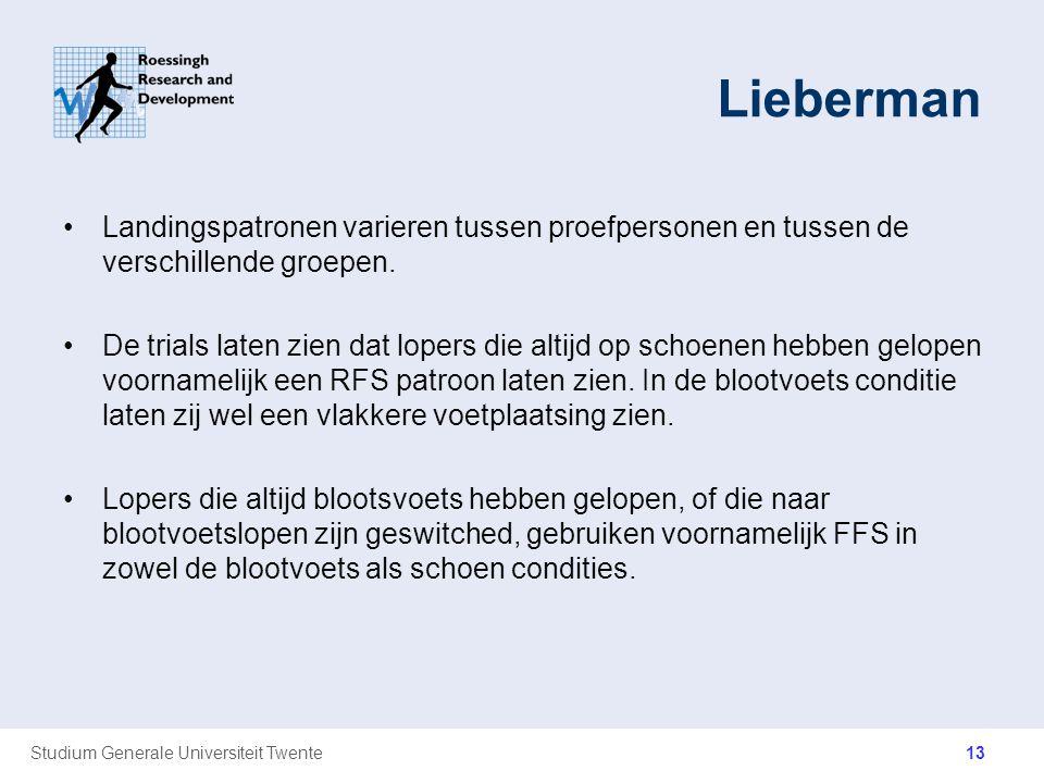 Studium Generale Universiteit Twente Lieberman Landingspatronen varieren tussen proefpersonen en tussen de verschillende groepen. De trials laten zien