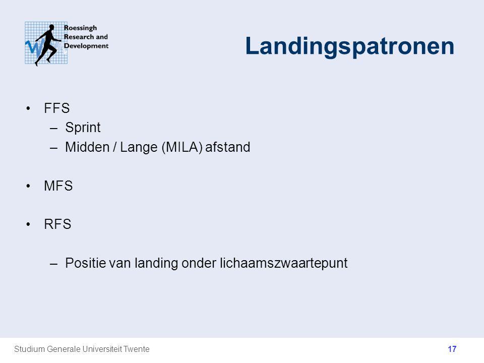 Studium Generale Universiteit Twente Landingspatronen FFS –Sprint –Midden / Lange (MILA) afstand MFS RFS –Positie van landing onder lichaamszwaartepun