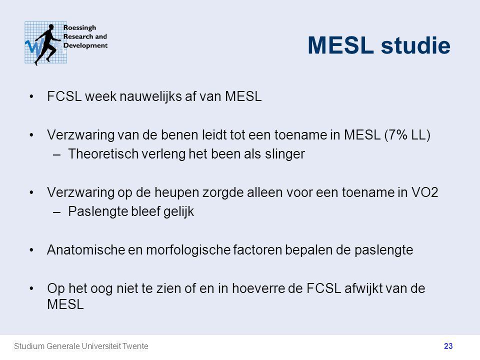 Studium Generale Universiteit Twente MESL studie FCSL week nauwelijks af van MESL Verzwaring van de benen leidt tot een toename in MESL (7% LL) –Theor
