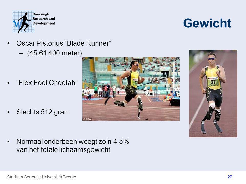 """Studium Generale Universiteit Twente Gewicht Oscar Pistorius """"Blade Runner"""" –(45.61 400 meter) """"Flex Foot Cheetah"""" Slechts 512 gram Normaal onderbeen"""