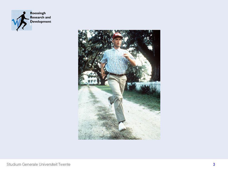 Studium Generale Universiteit Twente Huidige controverses Demping Idee: grondreactiekracht is schadelijk en moet worden beperkt Huidige hardloopschoenen bevatten daardoor (steeds meer) demping Het lichaam past zich aan aan de uitgeoefende grondreactiekracht door middel van spieractivatie, co-contracties, spier- en gewrichtstijfheden Muscle Tuning –(Nigg 2001)