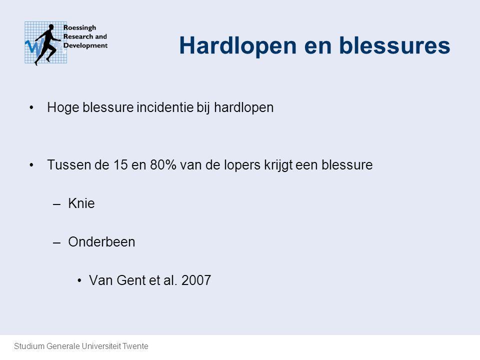 Studium Generale Universiteit Twente Hardlopen en blessures Hoge blessure incidentie bij hardlopen Tussen de 15 en 80% van de lopers krijgt een blessu