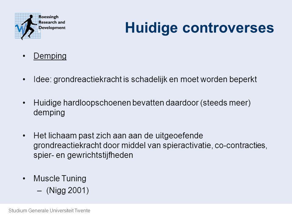 Studium Generale Universiteit Twente Huidige controverses Demping Idee: grondreactiekracht is schadelijk en moet worden beperkt Huidige hardloopschoen