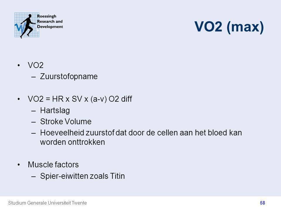 Studium Generale Universiteit Twente VO2 (max) VO2 –Zuurstofopname VO2 = HR x SV x (a-v) O2 diff –Hartslag –Stroke Volume –Hoeveelheid zuurstof dat do