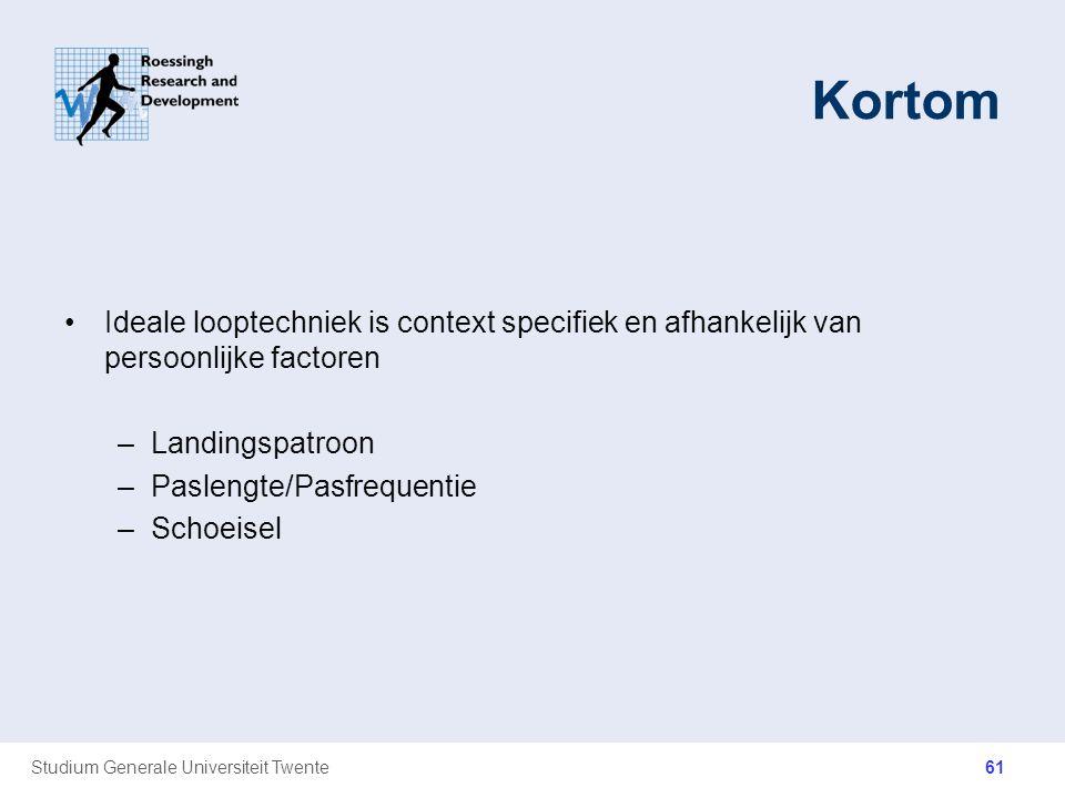 Studium Generale Universiteit Twente Kortom Ideale looptechniek is context specifiek en afhankelijk van persoonlijke factoren –Landingspatroon –Paslen