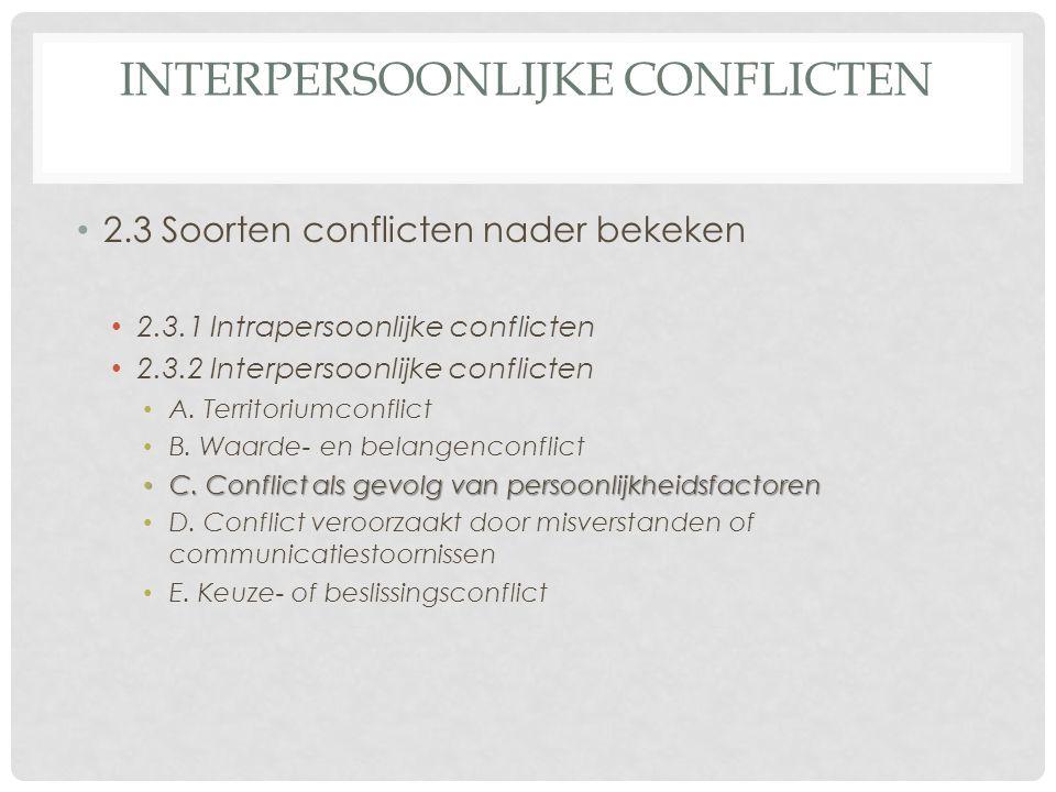 INTERPERSOONLIJKE CONFLICTEN 2.3 Soorten conflicten nader bekeken 2.3.1 Intrapersoonlijke conflicten 2.3.2 Interpersoonlijke conflicten A.