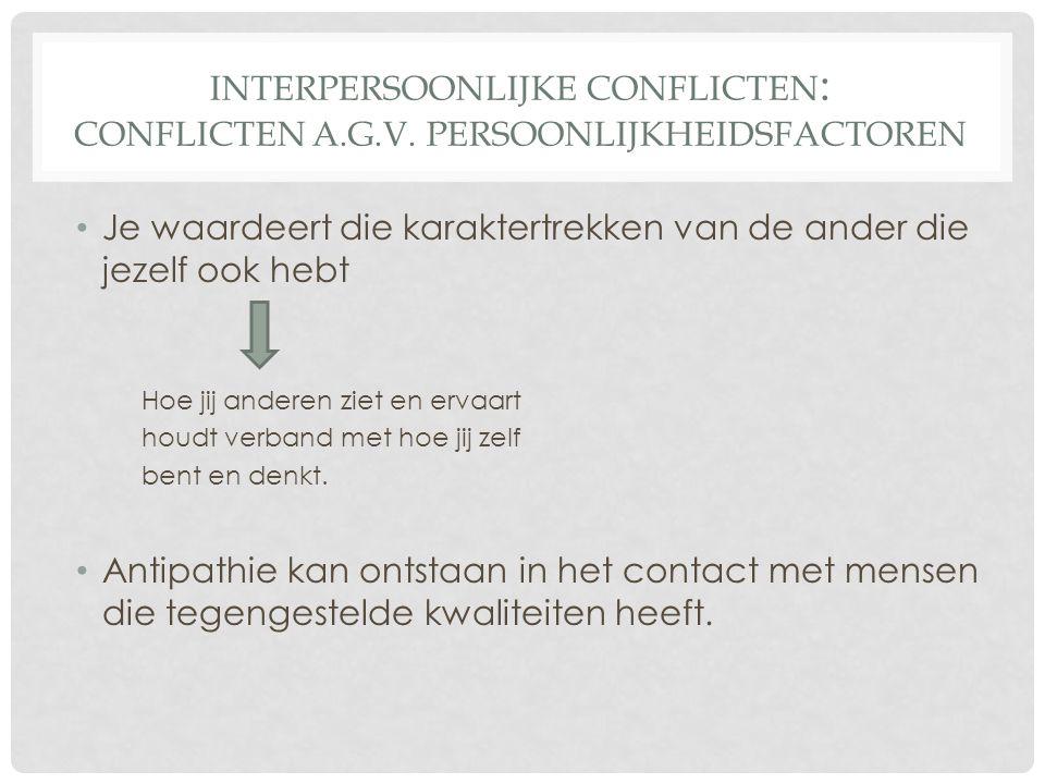 INTERPERSOONLIJKE CONFLICTEN : CONFLICTEN A.G.V.