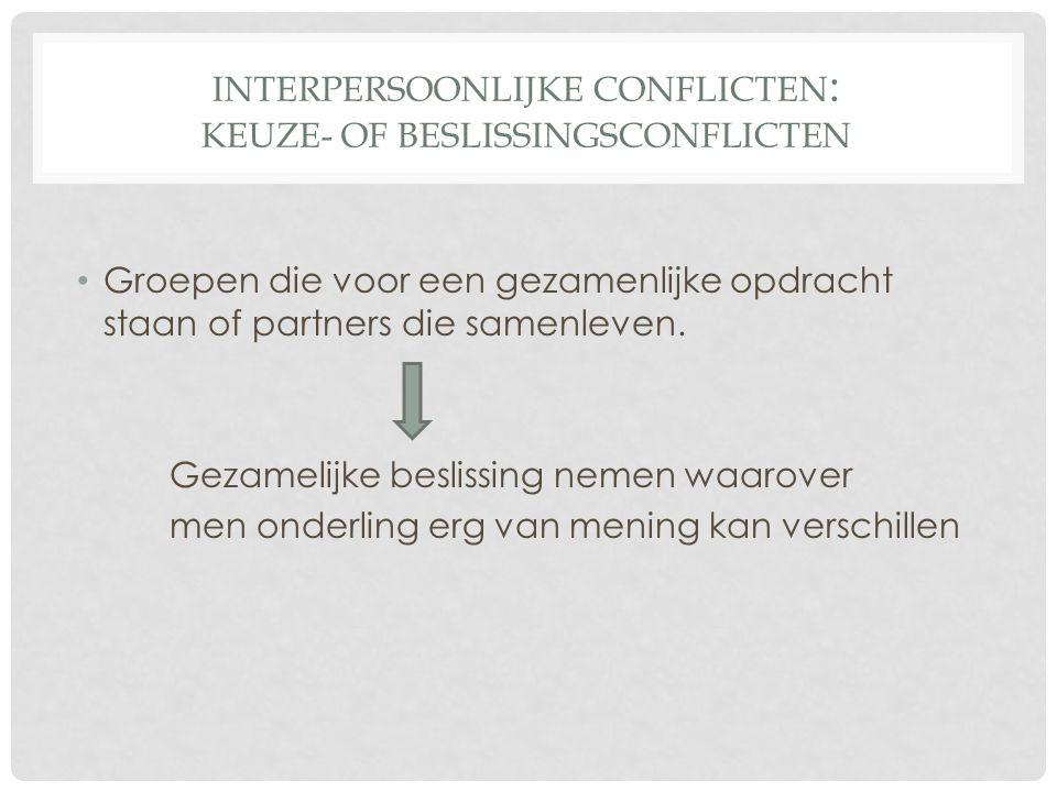 INTERPERSOONLIJKE CONFLICTEN : KEUZE- OF BESLISSINGSCONFLICTEN Groepen die voor een gezamenlijke opdracht staan of partners die samenleven.