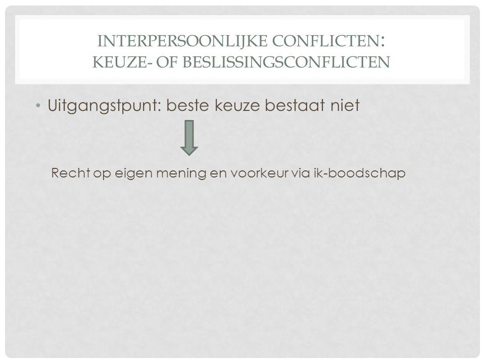 INTERPERSOONLIJKE CONFLICTEN : KEUZE- OF BESLISSINGSCONFLICTEN Uitgangstpunt: beste keuze bestaat niet Recht op eigen mening en voorkeur via ik-boodschap