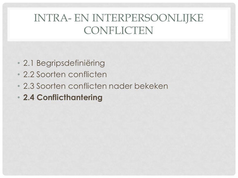 INTRA- EN INTERPERSOONLIJKE CONFLICTEN 2.1 Begripsdefiniëring 2.2 Soorten conflicten 2.3 Soorten conflicten nader bekeken 2.4 Conflicthantering
