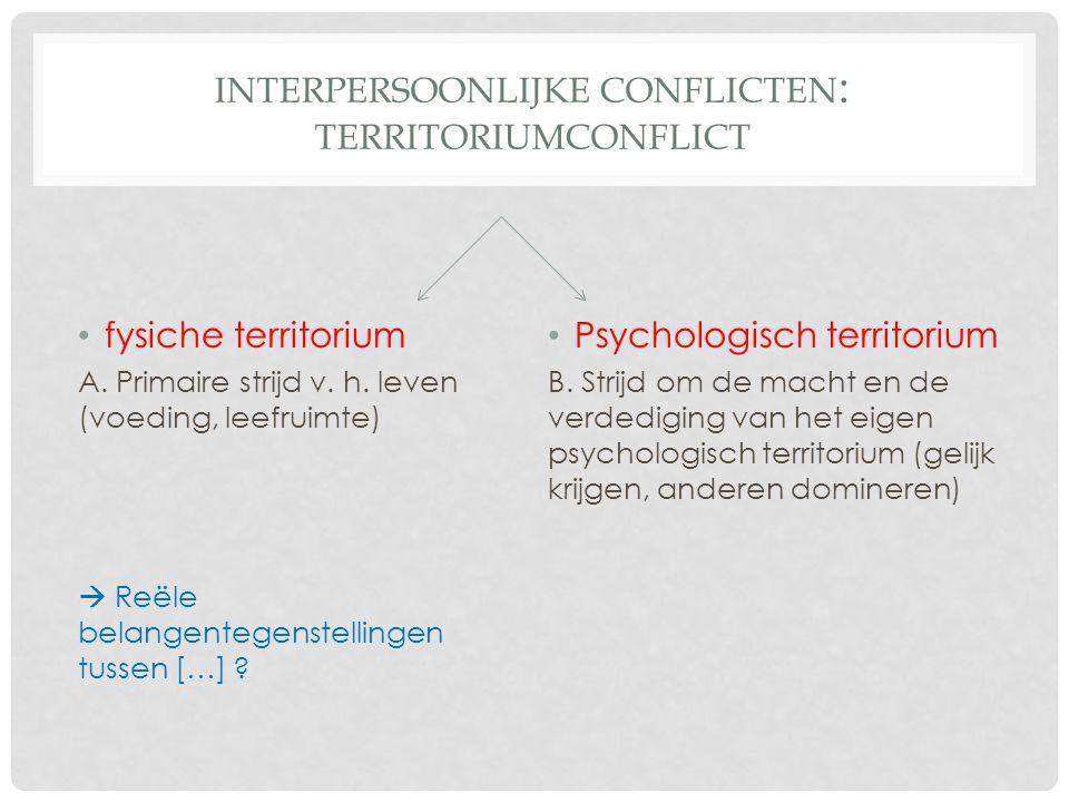 INTERPERSOONLIJKE CONFLICTEN : TERRITORIUMCONFLICT http://www.youtube.com/watch?v=FXJQ0eNq5D4 Wat is volgens Yair Lapid het probleem.