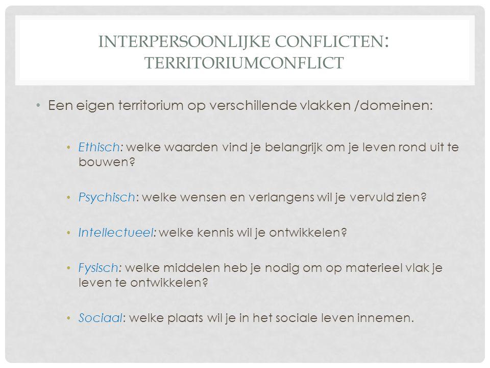 INTERPERSOONLIJKE CONFLICTEN : TERRITORIUMCONFLICT Een eigen territorium op verschillende vlakken /domeinen: Ethisch: welke waarden vind je belangrijk om je leven rond uit te bouwen.