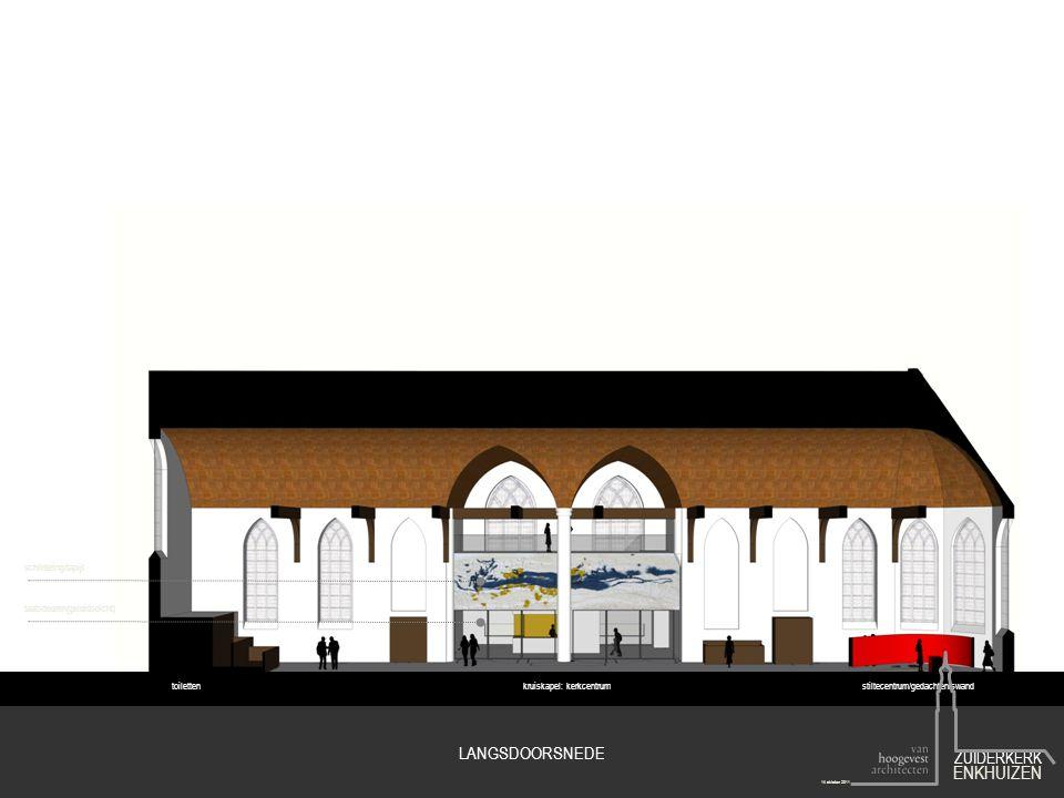toilettenkruiskapel: kerkcentrumstiltecentrum/gedachteniswand schildering/tapijt taatsdeuren(geluidsdicht) LANGSDOORSNEDE ZUIDERKERK ENKHUIZEN 14 okto