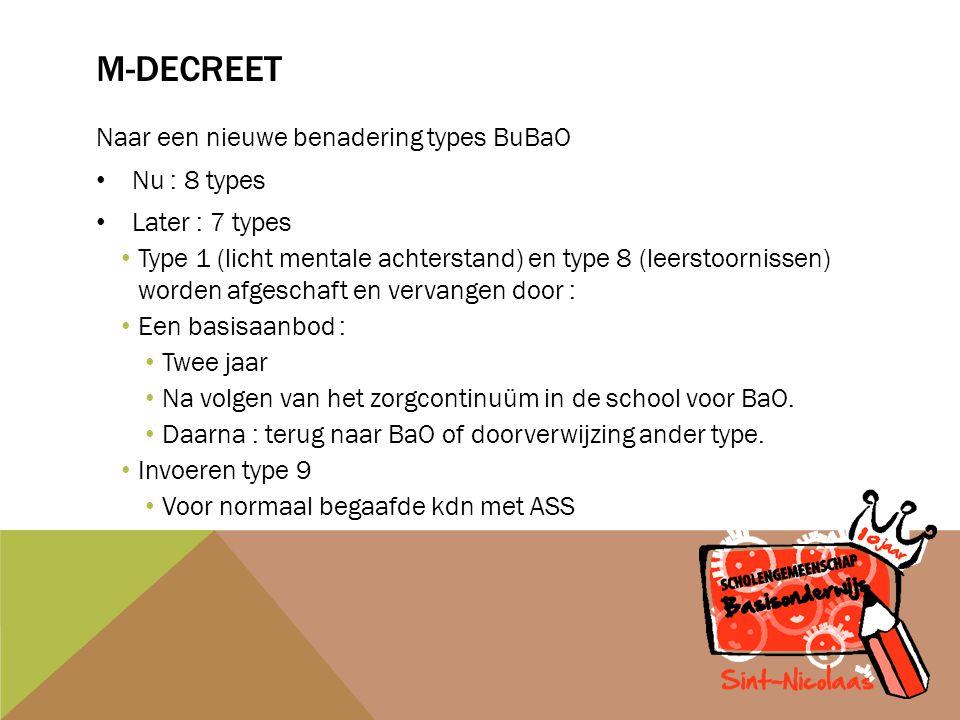 M-DECREET Naar een nieuwe benadering types BuBaO Nu : 8 types Later : 7 types Type 1 (licht mentale achterstand) en type 8 (leerstoornissen) worden afgeschaft en vervangen door : Een basisaanbod : Twee jaar Na volgen van het zorgcontinuüm in de school voor BaO.