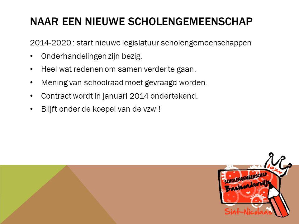 NAAR EEN NIEUWE SCHOLENGEMEENSCHAP 2014-2020 : start nieuwe legislatuur scholengemeenschappen Onderhandelingen zijn bezig.